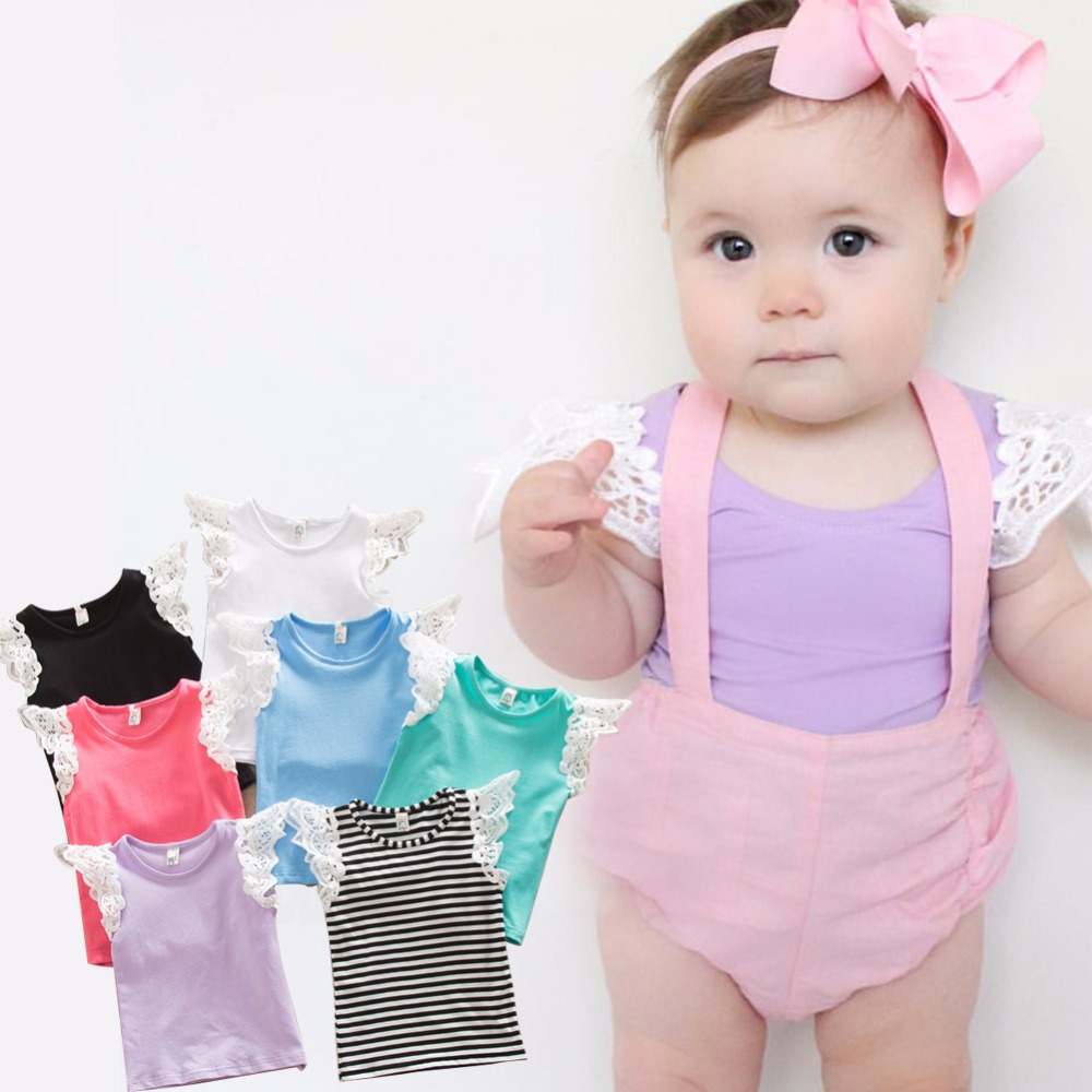 Baby Girl Summer T-Shirt Candy Color Flying Sleeve Tee Shirts Toddler Girls Cotton Children Lace Sleeveless Tops T-Shirt Clothe