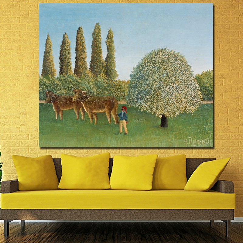 Cow Park Canvas Painting By Henri Rousseau Abstract Landscape And ...