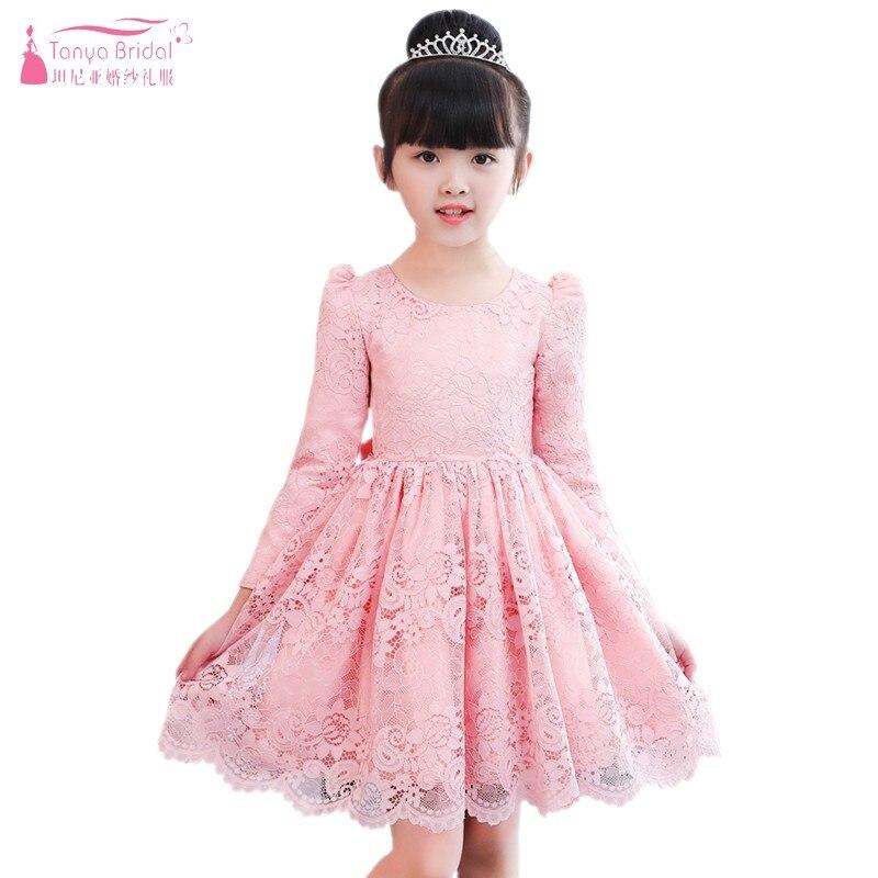 Flower     Girls     Dresses   Autumn Winter 2018 New Kid's   Dress   With Velvet Inside Princess   Girl     Dress   Lace Long Sleeve   Girl     Dress   JQ20