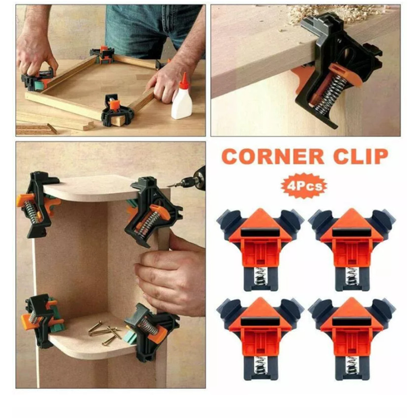ASCENDAS 4pcs Woodworking 90 Degree Right Angle Clamp Clip Quick Picture Frame Corner Clamp TP-0286