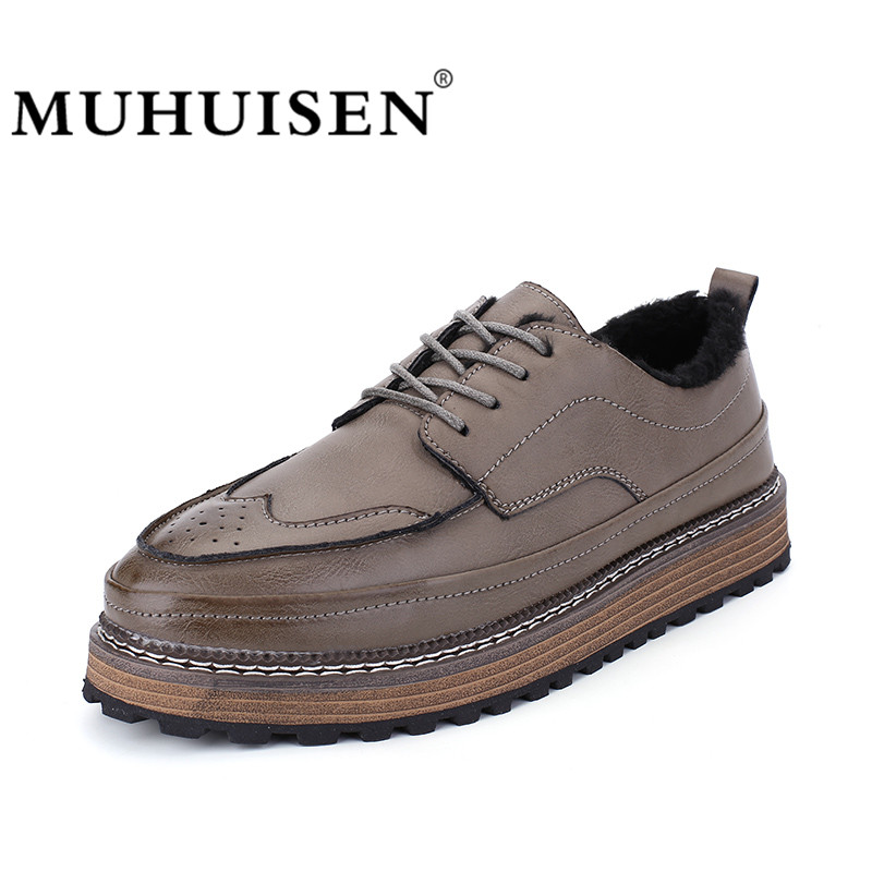 MUHUISEN Brand Winter Leather Men Casual Shoes British Style Fashion Retro Lace Up Brogue Shoes Flat Warm Fur Oxford Shoes brand new horsehair oxford shoes for women fashion lace up high top flat british style ladies shoes spring office