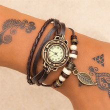 UMKA Punk Boho Vintage Creative Leather Leaf Rope Wrap Watch Bracelet Black Men's or Woman's Charm Bracelet Party Jewelry Gift