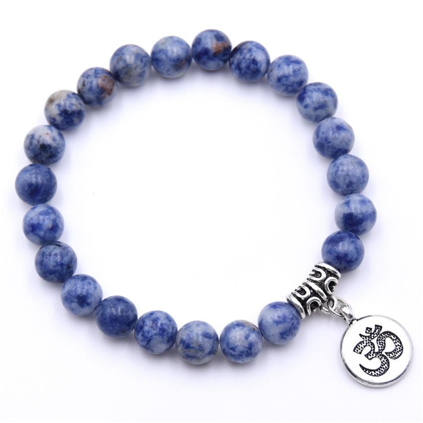 Natural Stone Strand Bracelet Yoga Chakra Mala Bracelet OM Lotus Women Men Beaded Charm Bracelet Jewelry Pulseras dropshipping - Окраска металла: ZT110-7