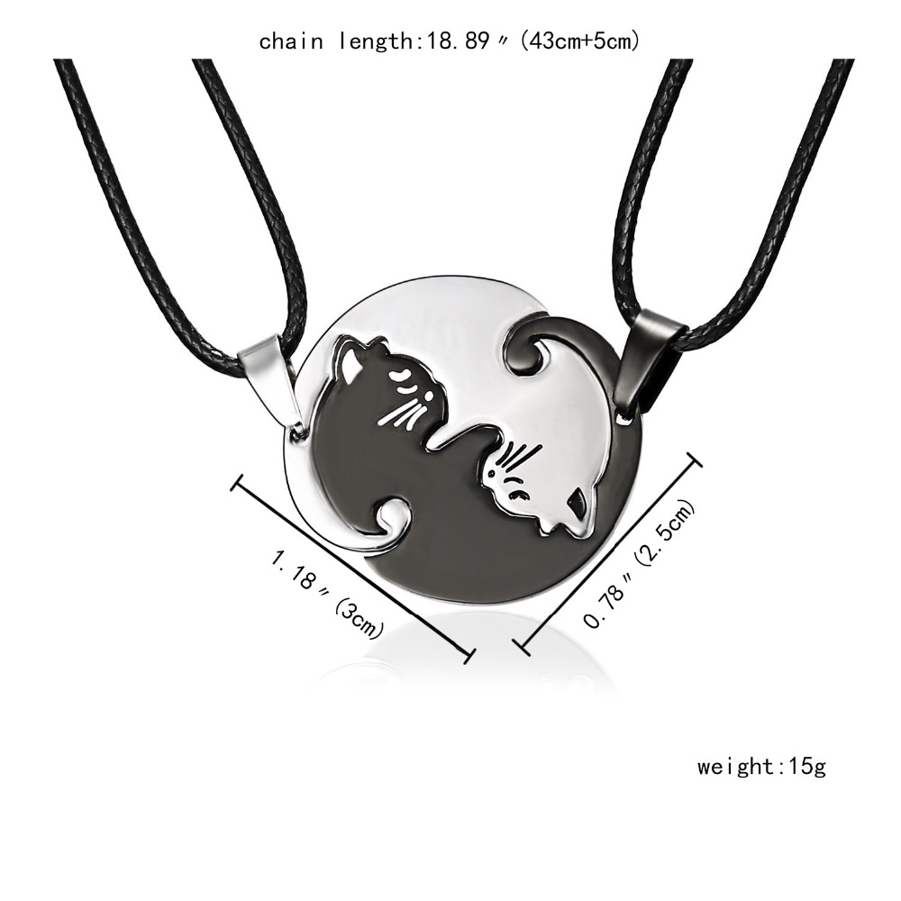 HH1A9235-  Rinhoo  Jewellery Necklaces Black white Couple Necklace Titanium Metal animal cat Pendants Necklace HTB1wBUUnQCWBuNjy0Faq6xUlXXaU