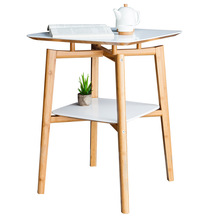 ZEN'S BAMBOO Round Table White Double Layer Assemble Square Coffee Table Bamboo Japanese Tea Table Living Room Home Furniture