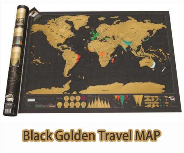 Calidad Viajero de Mundo Mapa Arañazos mapa juguete creativo Grande Negro & Gold Edition Mapa Mundi Póster Regalo Perfecto Para Cualquier viajes