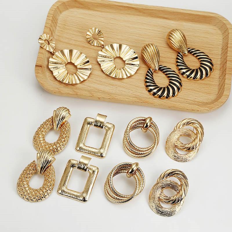 Multicolor Metal Drop Earrings For Women Vintage Exaggeration Geometric Earring Bohemian Earring Wedding Jewellery