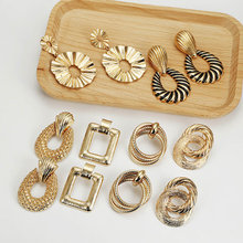 Multicolor Metal Drop Earrings for Women Vintage Exaggeration Geometric earring Bohemian