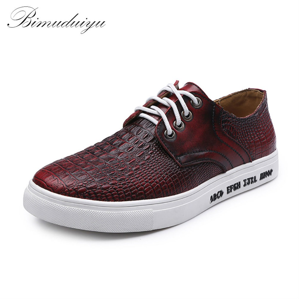 BIMUDUIYU Spring Autumn New Crocodile Letter Pattern Men s Flats Trendy Shoes Quality Genuine Leather Casual