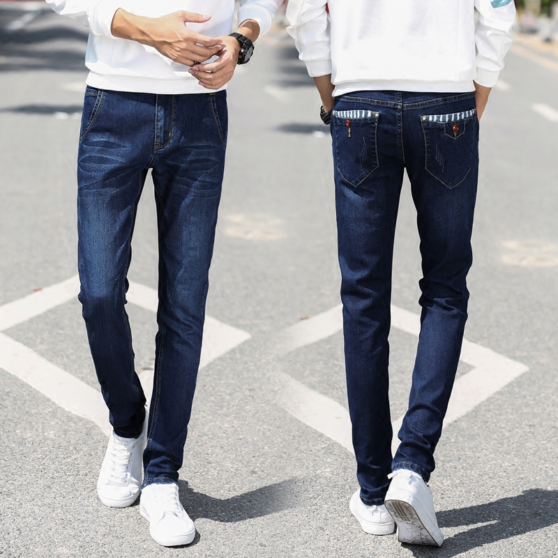 Mens Jeans Trousers Blue Classic Mens Skinny Jeans Stretch Slim Fit Pants New High Street Slim Individuality Retro Classic Den