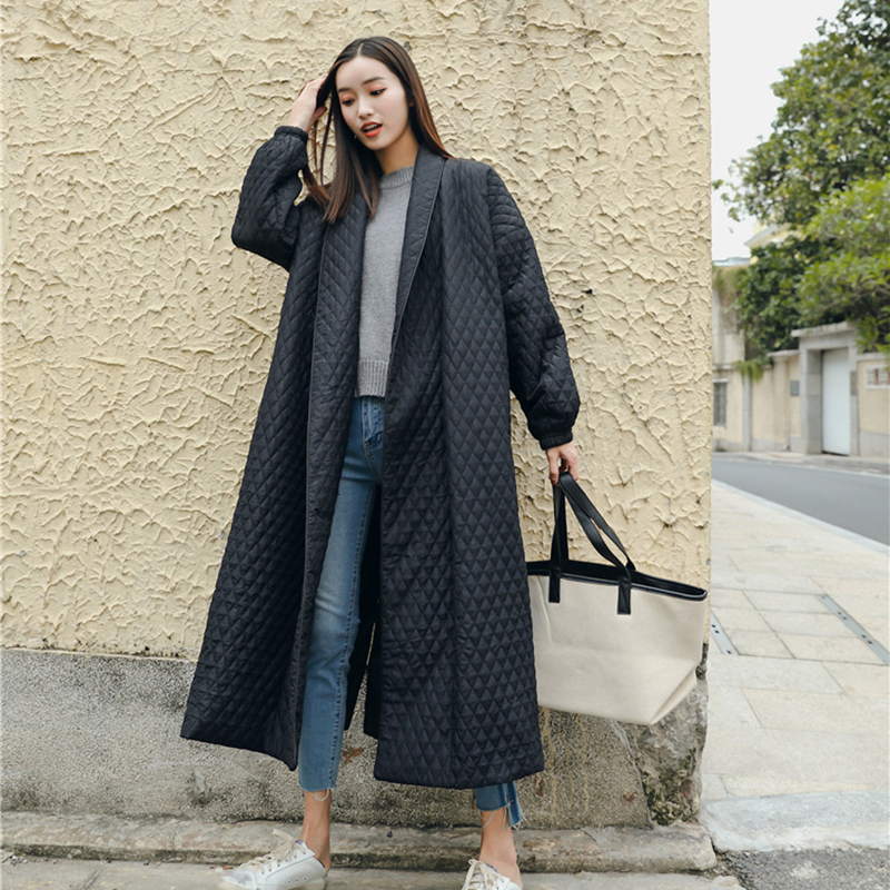 LANMREM New Fashion Black Oversize Lapel Back Vent Button Winter Jacket 18 Female's Long Cotton Coat Jaqueta Feminina WTH11 9