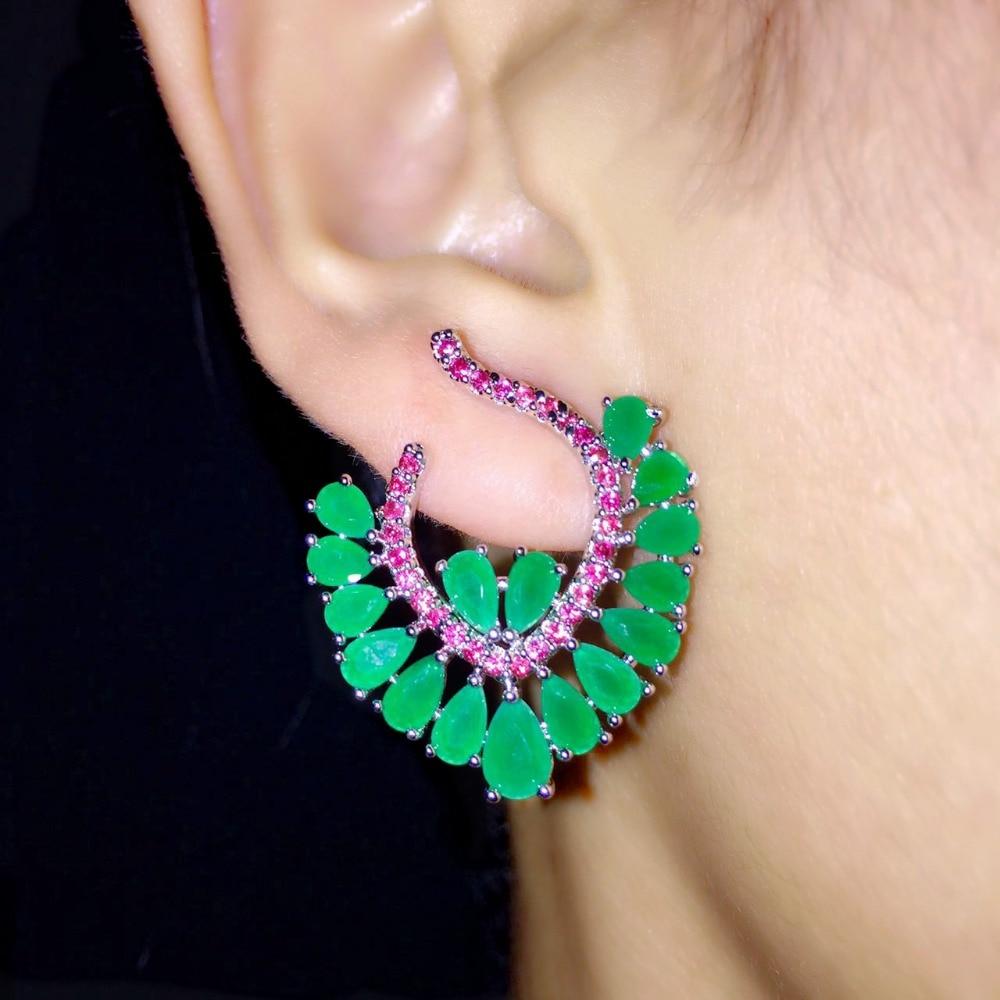 Milky Green Stone Earrings Zirconia Crystal Stud Earrings For Women Fashion Jewelery Party Accessories Brincos 2017
