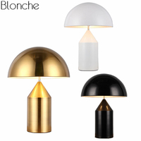 Post Modern Mushroom Table Lamps for Living Room Bedroom Gold Iron Lamp Shades Led Stand Desk Light Fixtures Study Luminaire