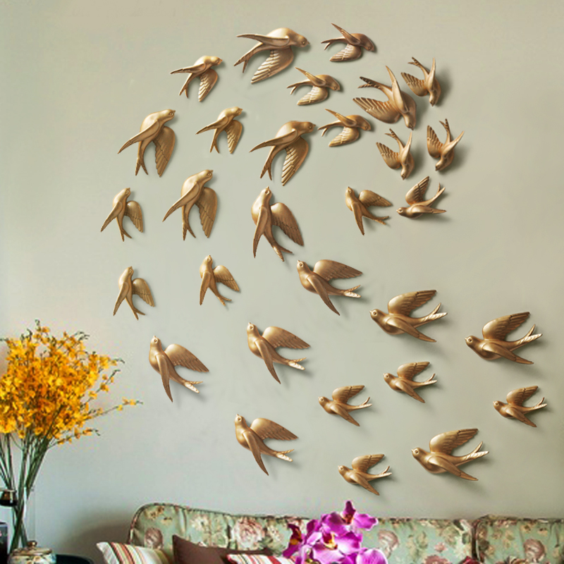 Resin 3d Swallow Birds figurine wall Stickers home decor accessories for living room home decoration stickers wall decoration
