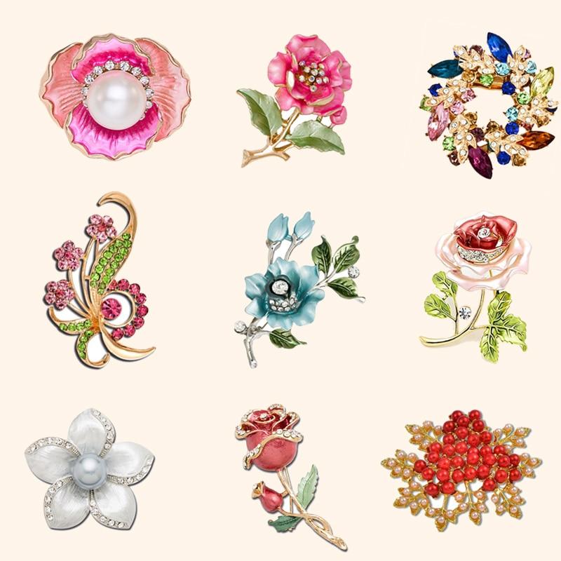 Günstige Vintage Strass Frau Hochzeit Blume Brosche Bouquet Mohn Kristall Broches Perle Brosche Schal Revers Hijab Pins Schmuck