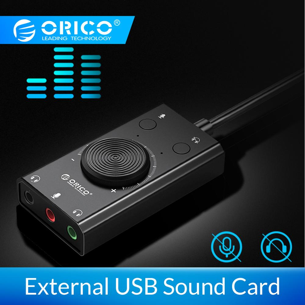 Orico externo usb placa de som estéreo microfone alto-falante fone de ouvido áudio jack 3.5mm adaptador cabo interruptor mudo ajuste volume unidade livre