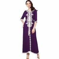 Muslim Women Long Sleeve Dubai Dress Maxi Abaya Jalabiya Islamic Clothing Robe Moroccan Embroidey Dress 1715