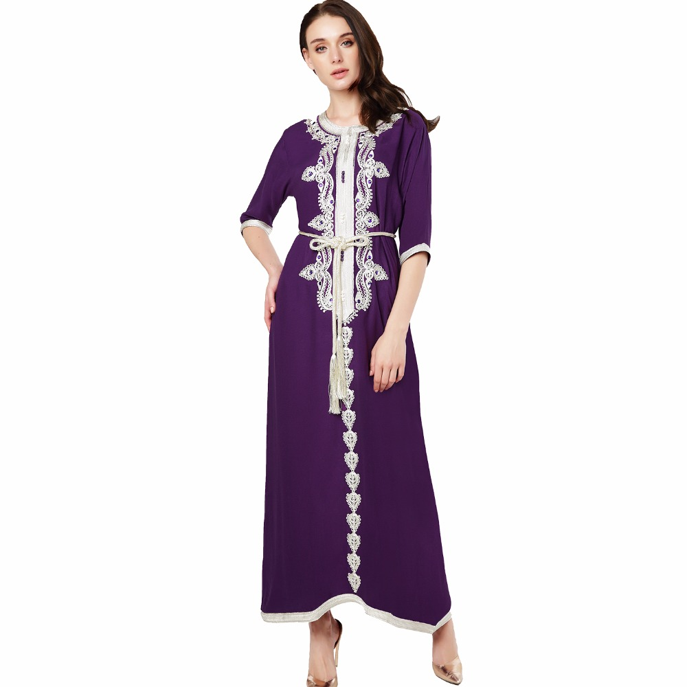 Muslim women Long sleeve Dress maxi long dress islamic clothing Moroccan kaftan elegant embroidery ethnic vintage dress tunic 15