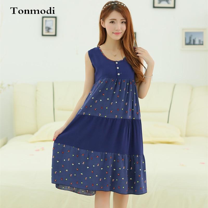 Women s Sleeveless Nightgown Loose Cotton Silk Night Dress Women s Sleep  Lounge Sleepshirts Nightgowns a5613bb02