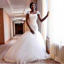 fc57a6c68a53 Vintage Lace Puffy Mermaid Wedding Dresses With Capped Sleeves 2018 Nigeria  African Women Bridal Gown Vestido