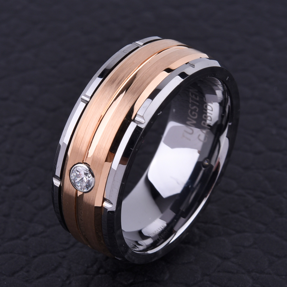Soul Men  8mm Men's Tungsten Carbide Wedding Ring Silver Rose Gold CZ Stone Ring for Women Special Design Anniversary Gift