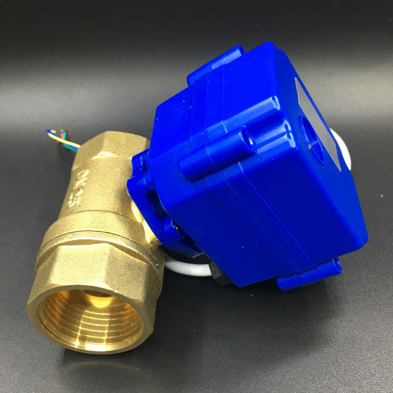 BSP 1'' DN25 Brass Automatic Ball Valve DC12V 2-Way Motorized Ball Valve 3 Wires CR03 Wiring On/Off 3 Sec For Water Control bsp npt 1 pvc dn25 electric shut off valve tf25 p2 c dc12v cr303 wiring 10nm on off 15 sec metal gear for water control