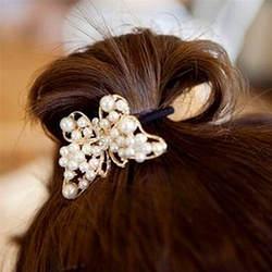 2017 crystal волос имитация жемчуг Бабочка волос веревки эластичный держатель аксессуары