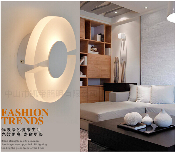 ФОТО modern brief fashion novel creative design round 6w led acryl decorative wall lamp living room bed room aisle indoor light1578