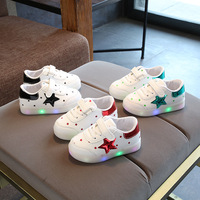 2018 White Pure Candy Stars Children Casual Shoes LED Hook Lop Breathable Baby Boys Girls Sneakers