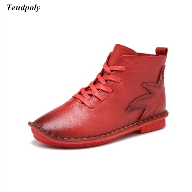 Fashion spring and autumn 2018 new style ladies women boots size (35-40) leisure leather lace round head flat heel women's shoes 2017 spring and autumn new leather lace women s shoes fashion pop shoes casual hot models round the elderly ladies shoes