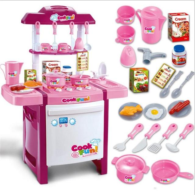 32fd531868fa Play house toy 25 kinds tableware fittings Arrival Child Classic Pretend  Play imitate chef Kitchen Set Toys COOK FUN girl gift