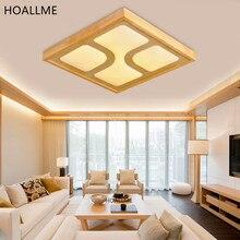 Lámpara colgante de techo de madera LED Vintage de Estilo japonés, lámpara colgante de techo cuadrada de madera, iluminación para interiores y salas de estar