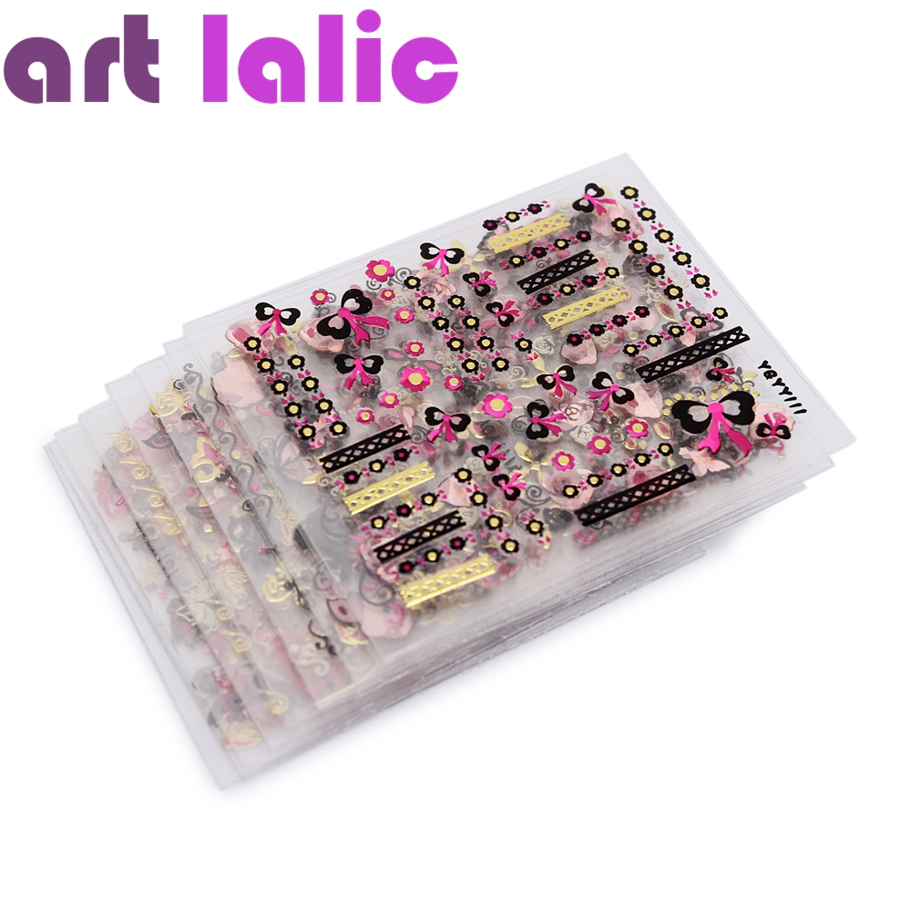 24Pcs/ Sheet Nail Stickers Flower Butterfly Pattern Stamping 3D Sticker Charms Bronzing Transfer Decal Decals Manicure DIY Tools косметика для мамы nivea гель для душа питание и забота 250 мл