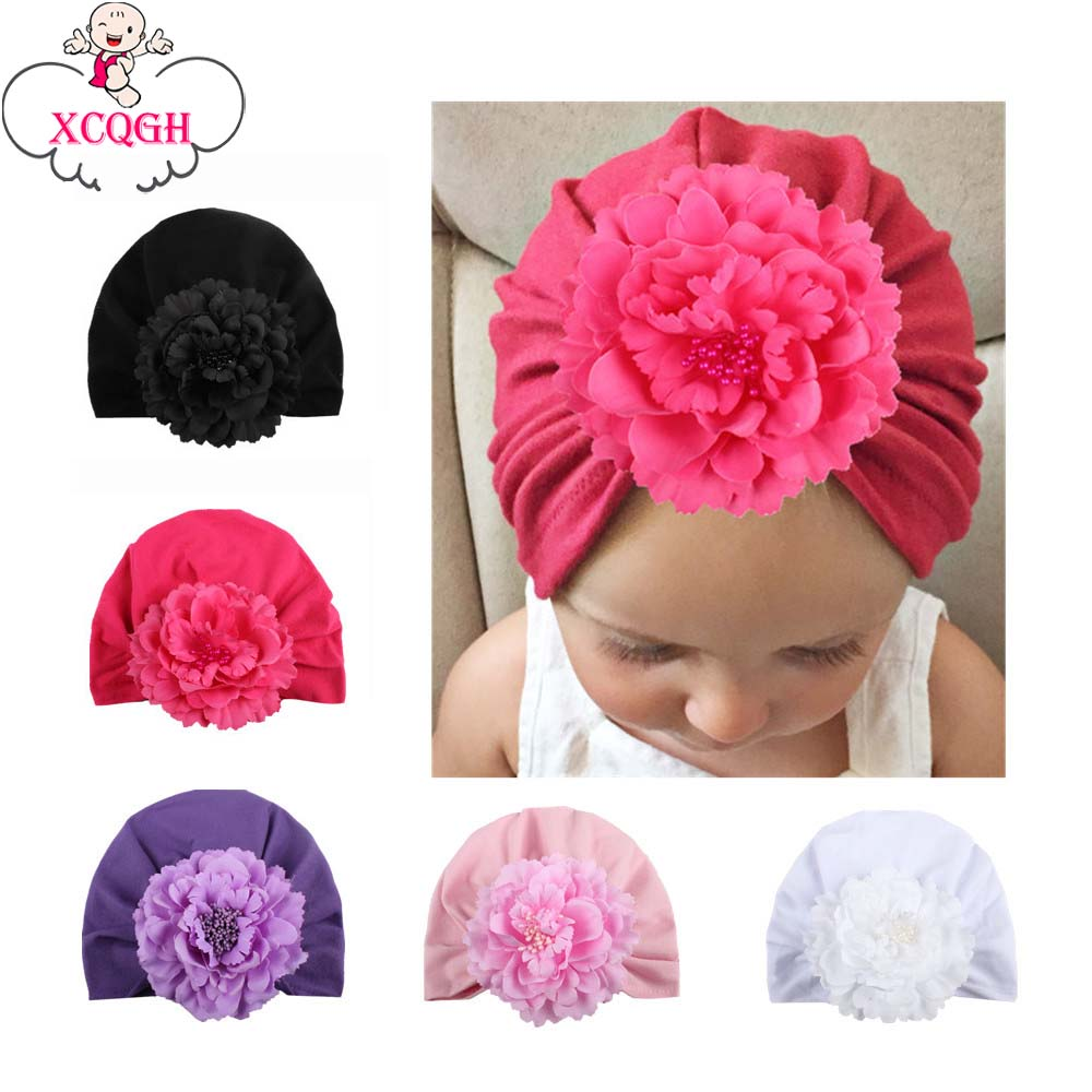 XCQGH Cotton Baby Beanie Hat Flower Solid Color Cap India Style Boy Girl Hats Elastic Child Kids Caps