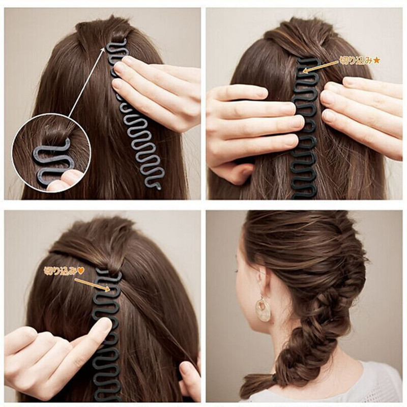 Fashion Lady French Magic Hair Braiding Fish Bond Waves Braider Tool Roller With Hair Twist Styling Bun Maker #763