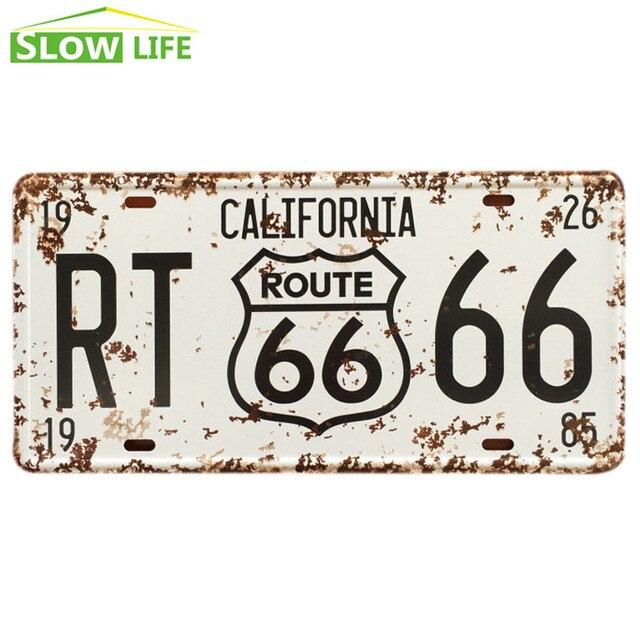 California RT 66 Car Metal placa de matrícula Metal Tin Sign Vintage ...