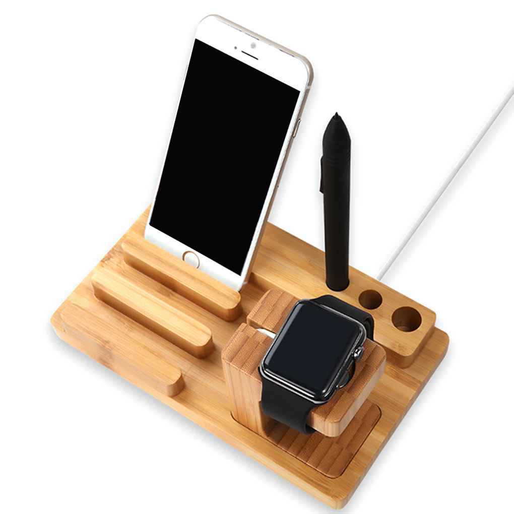 4 in 1 Holder for Apple Watch 38/42mm Bamboo Cradle Bracket Dock for Phones Business Card Pen Station Organizer