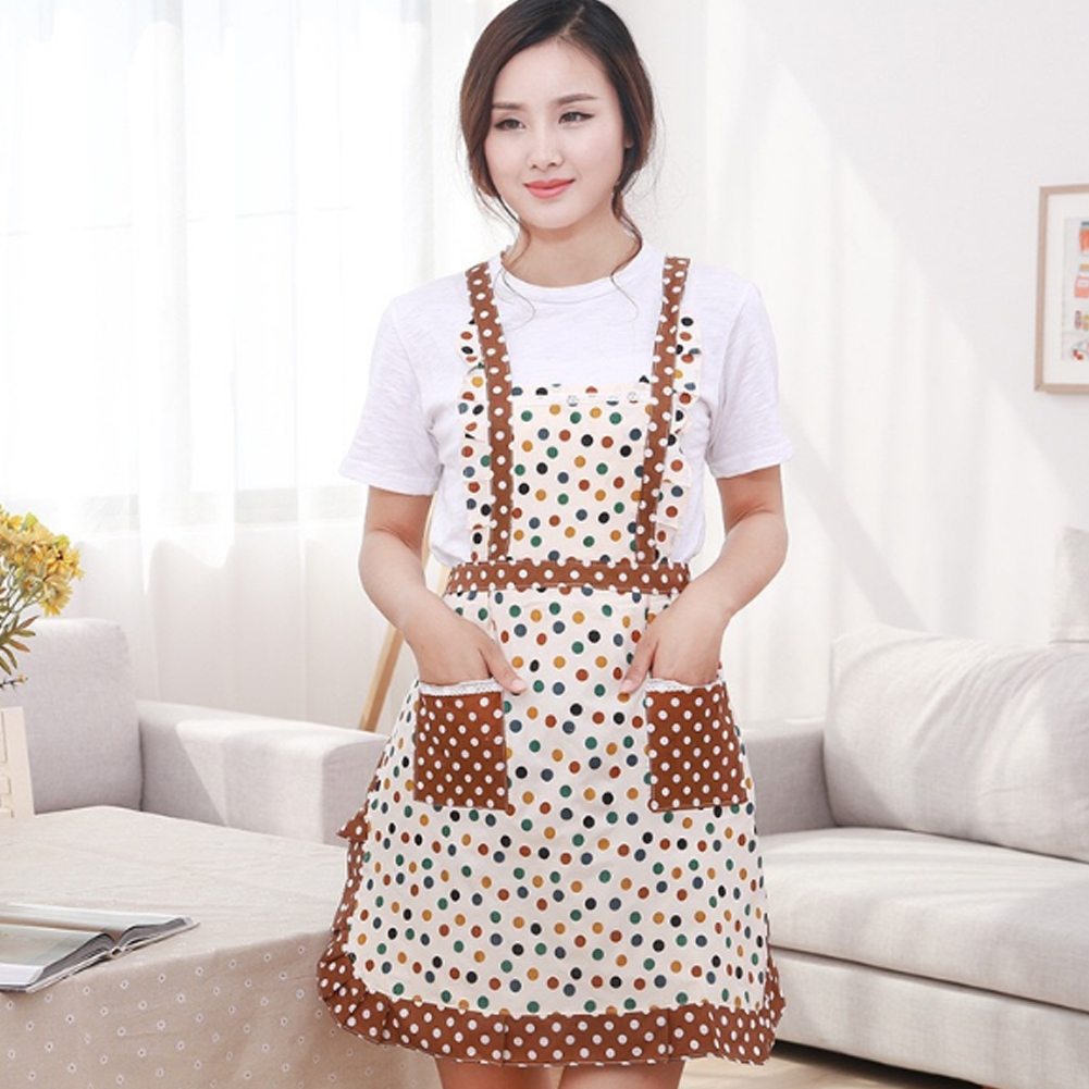 White apron cafe - Antifouling Polka Dot Apron With 2 Pockets Cafe Waiter Kitchen Cook New Tool Kitchen Apron
