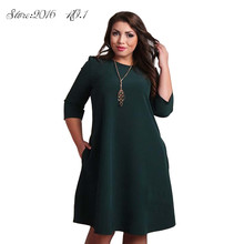 NEW Arrival Hot Fashion Women Plus Size Summer 3/4 Sleeve Dress Beach Casual Sundress H34 for Casual/Party/Club