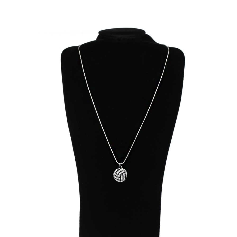 1 pieza de moda Vintage Chapado en plata collar de cristal dije de voleibol boda joyería gran oferta
