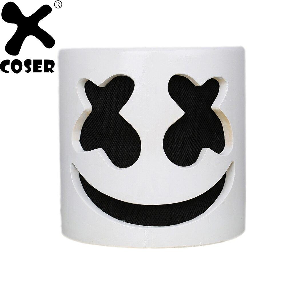XCOSER DJ Superstar Marshmello Casque latex blanc Pleine Tête Masque qualité supérieure Halloween Cosplay Cadeau Pour Professionnel Prop