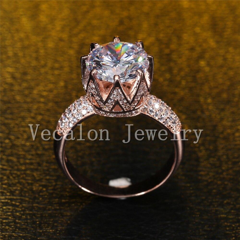 Vecalon Rose Gold Ehering für Frauen Rundschnitt 6 ct AAAAA Zirkon - Modeschmuck - Foto 3