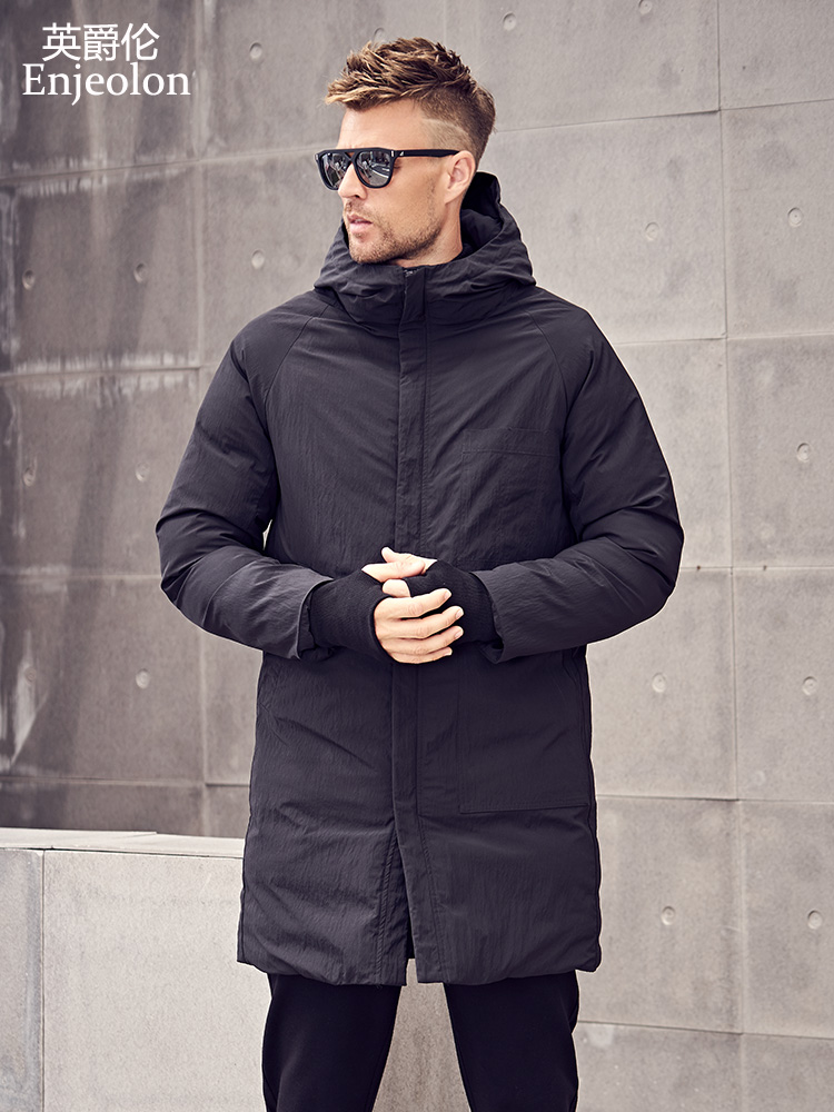 Enjeolon Model Winter Cotton Padded Hooded Lengthy Jacket Males Thick Hoodies Parka Coat Male Quilted Winter Jacket Coat 3Xl Mf0629