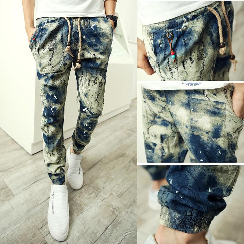 M-5XL Mens Floral Cotton Linen Floral Harem Stylish Pants Casual Skinny Trousers