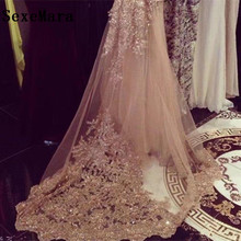 High Quality Champagne Wedding Veils 3 Meters Long Cathedral Length Sequined Lace Applique Bridal Veil Real Picture With Comb