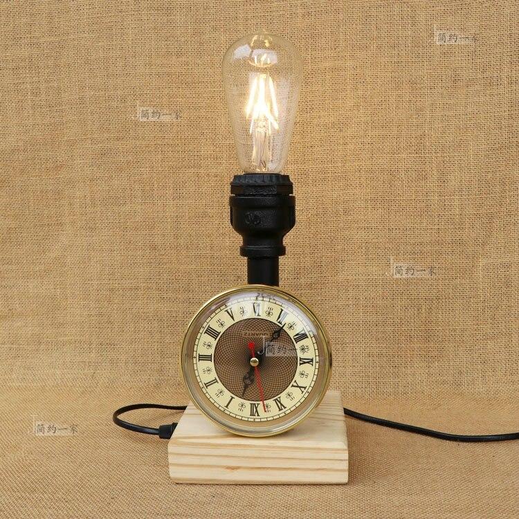 Водопроводные трубы настольные лампы ретро промышленного ветер Творческий водопровод деревянное основание настольная лампа спальня прик...