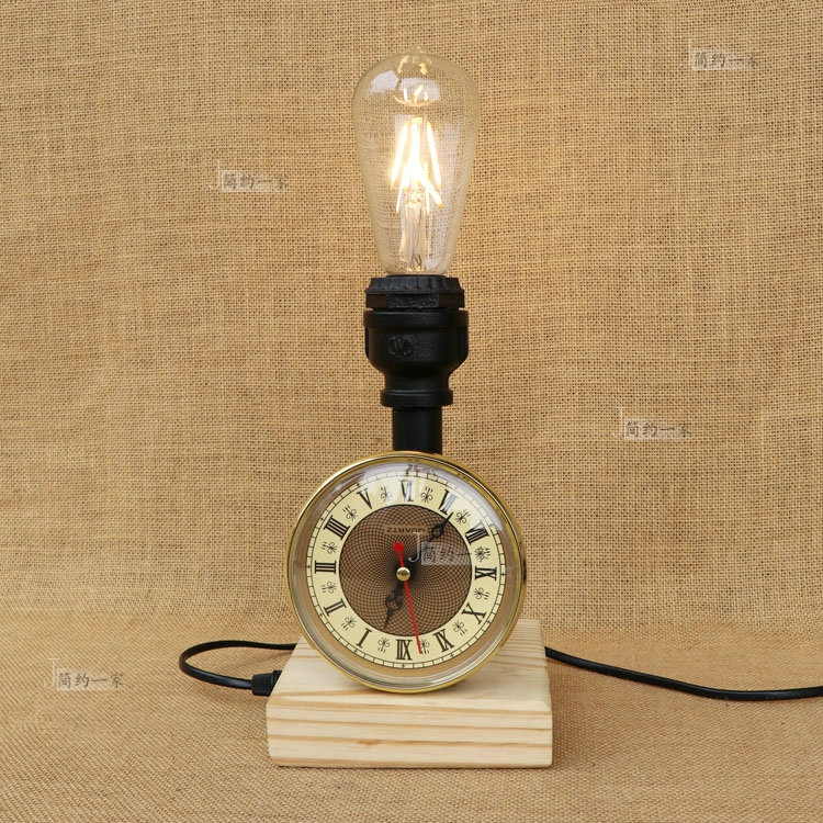 Water pipes Table lights retro industrial wind creative water pipe wood base desk lamp bedroom bedside study Table Lamps SG7 water pipes industrial wind iron table lamp bedroom living room desk lamp library reading retro scorpion pipe table lamps sg5