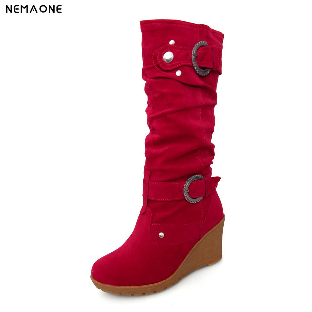 NEMAONE Faux Suede Women Riding mid-calf Boots Fashion Buckle Western wedges Heel Long Boots Blue Black Large Size casual women s mid calf boots with metallic buckle and suede design