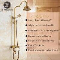 Beste Qualität Neu Antique Messing 3-funktionen Dusche Wasserhahn Kit Einzigen Handgriff 3 Umsteller Knöpfe Dusche Warmen und Kalten Wasserhähne