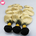 Body Wave Malaysian Virgin Hair 1B/613 Ombre Hair Bundles 3Pcs Lot Malaysian Human Hair Weave Bundles Black Blonde Two Tone Hair